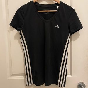 Adidas 3 stripe V neck tee